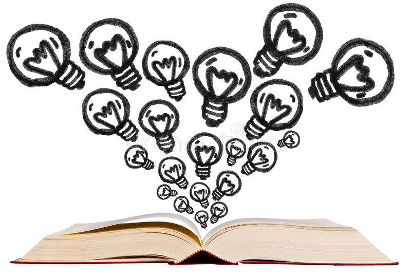 Open text book with idea bulb pen drawing icon stock images