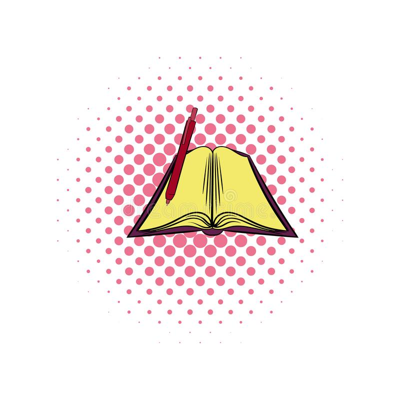 Open textbook comics icon. Open textbook with pen comics icon. Book illustration isolated on a white stock illustration