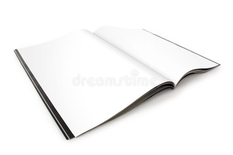 Open Tijdschrift dat met Blanco pagina's wordt uitgespreid royalty-vrije stock foto's