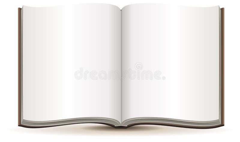 Open tijdschrift met blanco pagina's in een bruine dekking vector illustratie