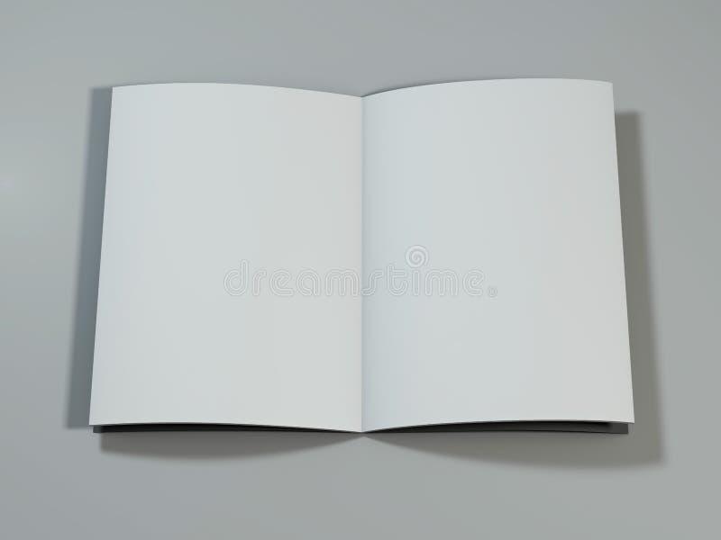 Open Tijdschrift met Blanco pagina's het 3d teruggeven stock illustratie
