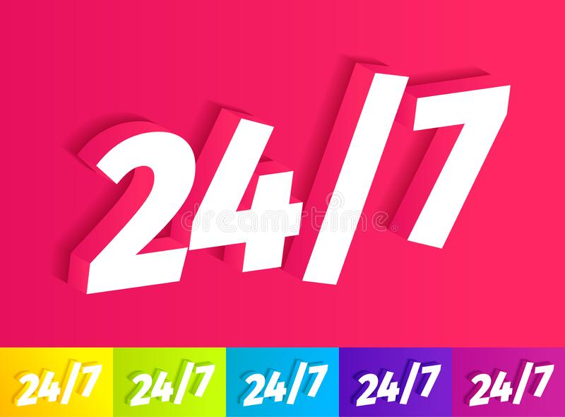 Open 24 to 7 Icon. White single word on pink. A set of different colors yellow green blue purple. 24 hour support. Vector color royalty free illustration