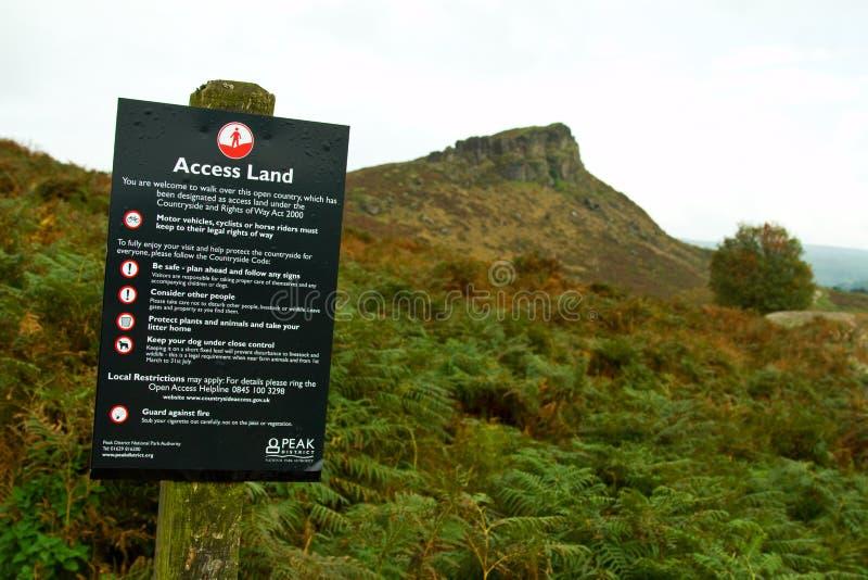 Open toegangsteken in het Nationaal Park van het district Peak stock fotografie