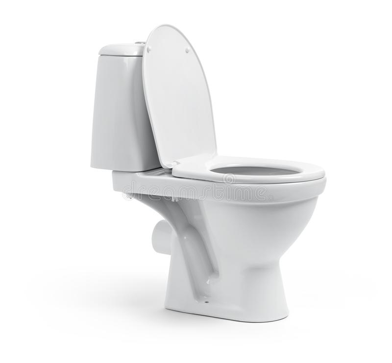 Open toilet bowl isolated on white background. File contains a path to isolation. Open toilet bowl isolated on white background. File contains a path to stock image