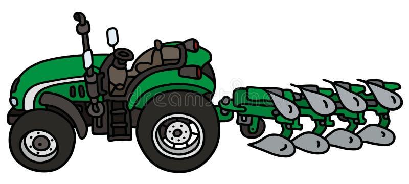 Open tractor met een ploeg vector illustratie