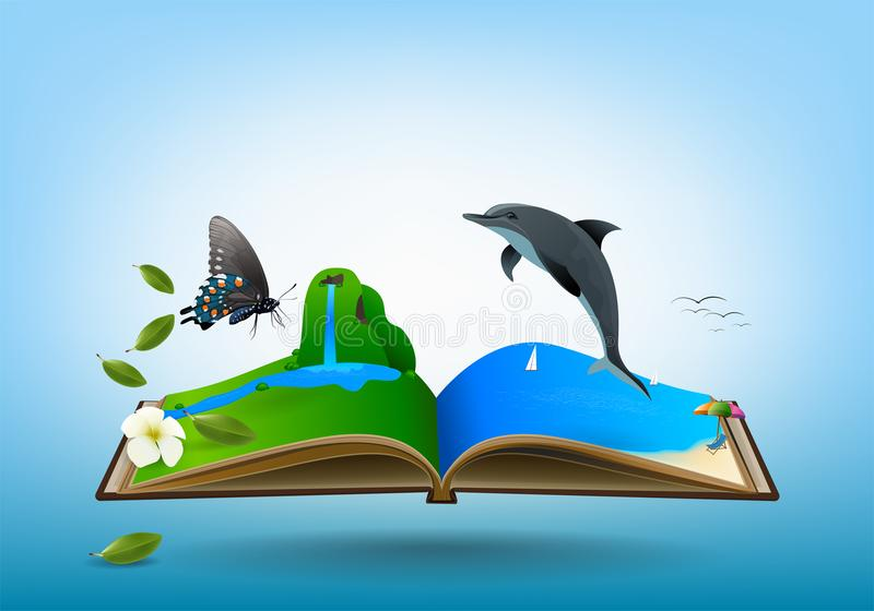 Open travel book. Between Mountain meadows, waterfalls, butterflies, streams and sea beaches. over blue sky background, vector illustration vector illustration