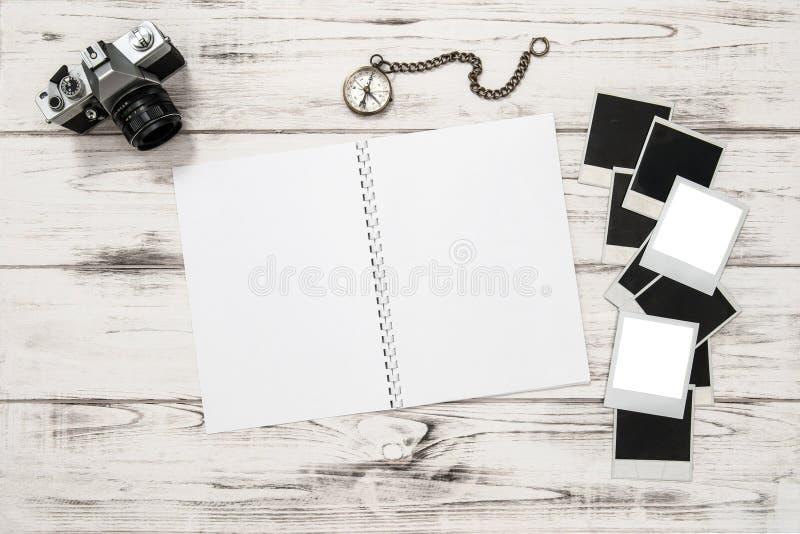 Open Travel Book, Photo Camera, Frames Mockup Stock Image - Image of ...