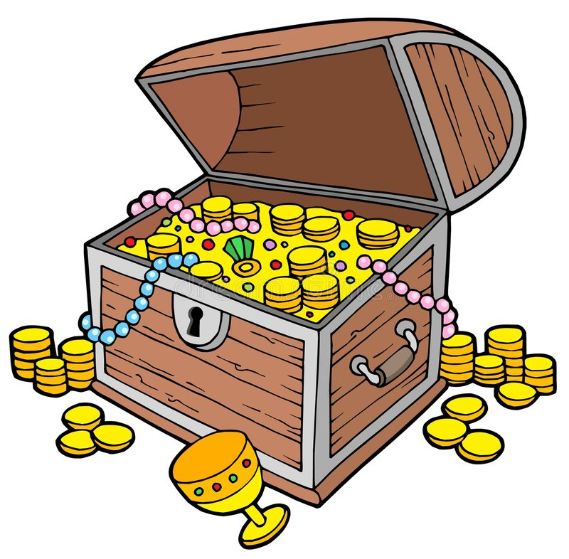 Open treasure chest vector illustration