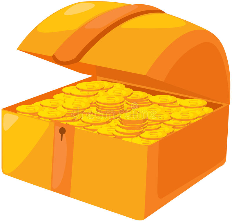 Open treasure chest with golden coins stock illustration