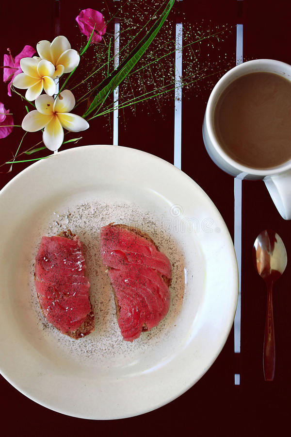 Open tuna sandwich stock images