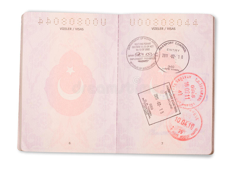 open turkish passport pages clipping path stock image