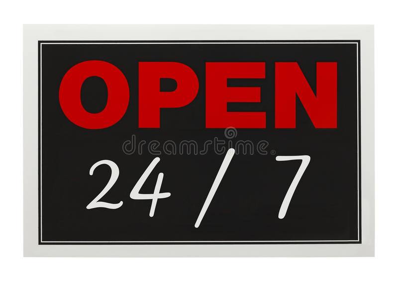 Open 24 7. Open Twenty Four Seven sign Isolated on White Background stock images