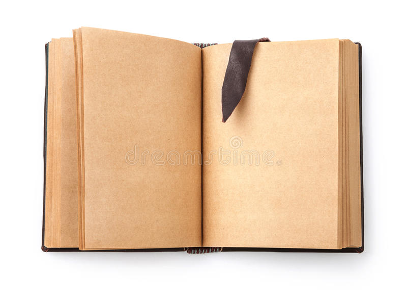 Open uitgespreid oud boek met blanco pagina stock afbeelding