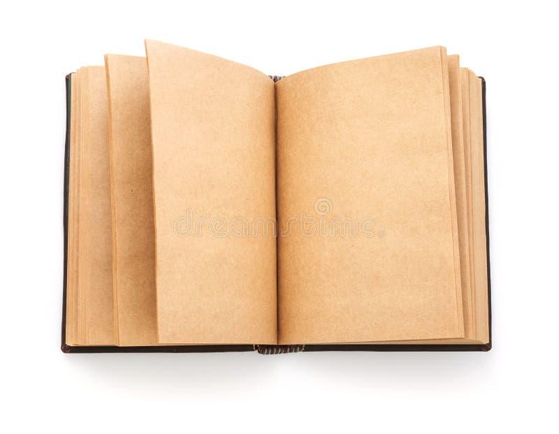 Open uitgespreid oud boek met blanco pagina royalty-vrije stock afbeeldingen