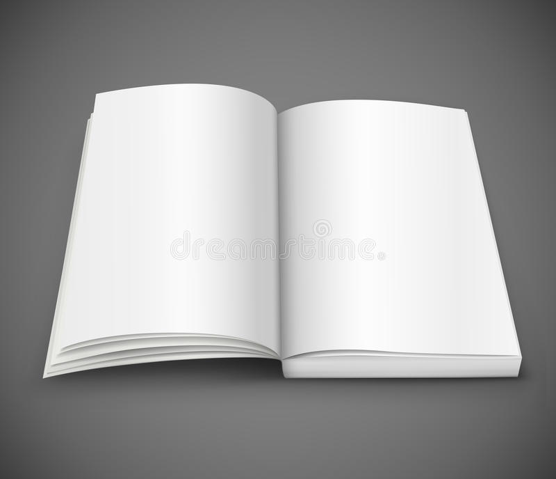 Open uitgespreid van boek met lege witte pagina's vector illustratie