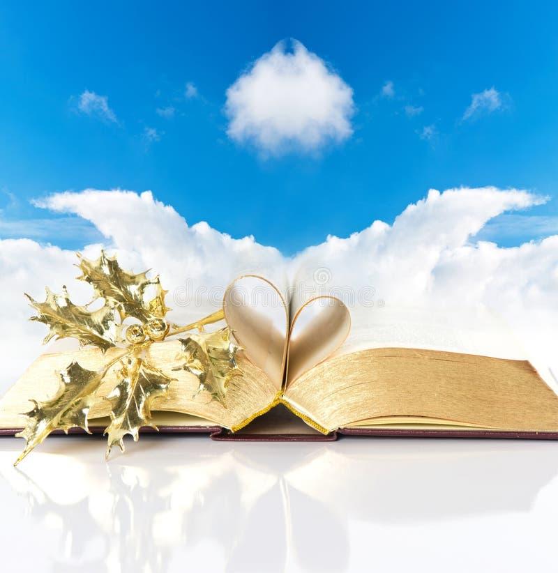 Open uitstekend bijbelboek met gouden pagina's stock afbeelding