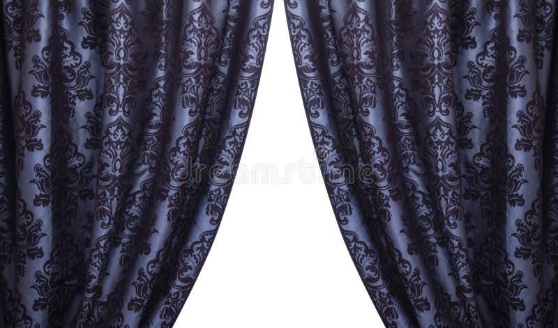 Open Uitstekende Donkerblauwe Gordijnen Stock Afbeelding ...