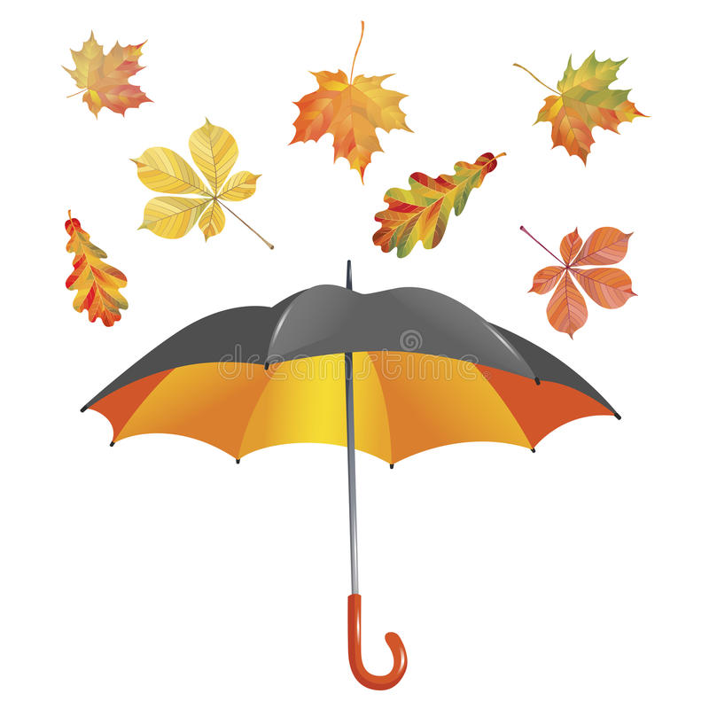 Open umbrella and leaf fall isolated on white background. Vector Illustration. Open umbrella and leaf fall isolated on white background. Vector vector illustration
