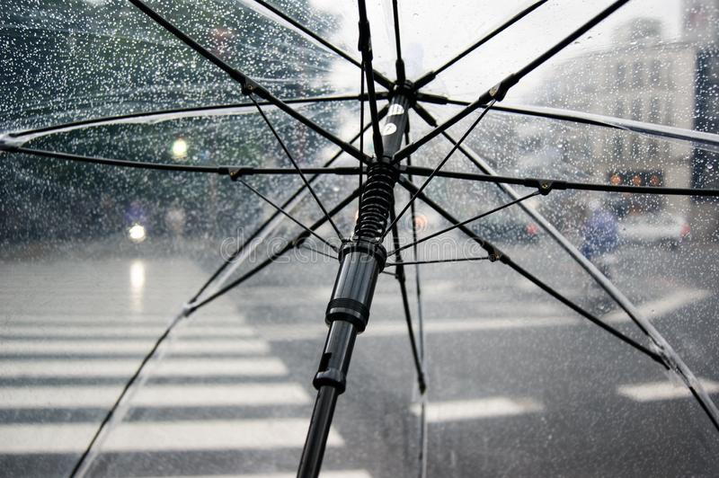 Open umbrella under the rain in the streets of a busy city.  stock images
