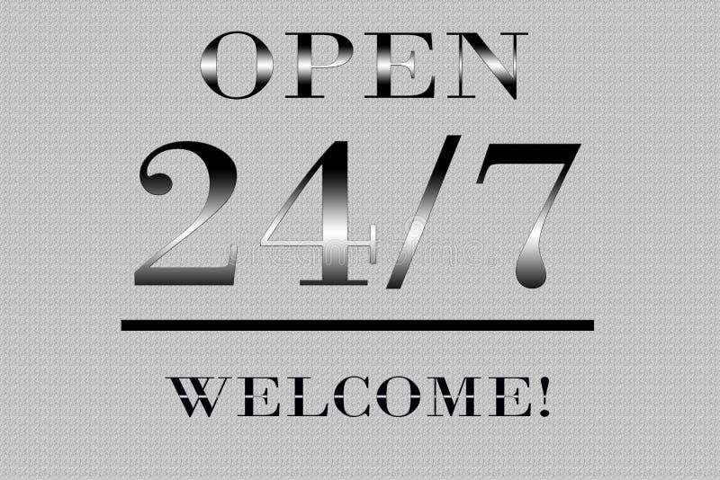 Open 24 uren per 7 dagen royalty-vrije stock afbeelding