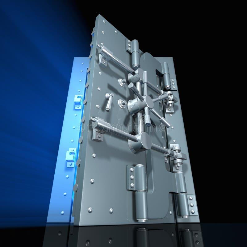 Open vault. Rendered open vault door with blue light inside (wide angle