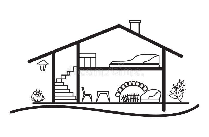 Open vectorregeling van huis - silhouet en binnenland royalty-vrije illustratie