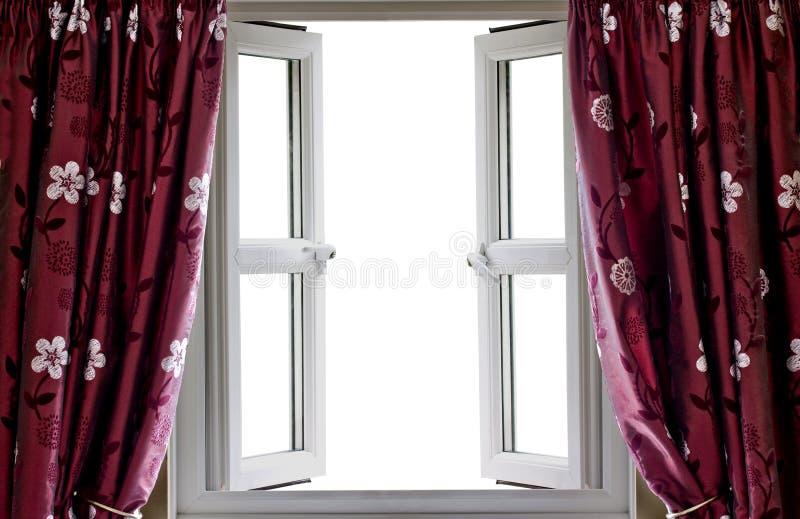 Open venster en gordijnen met een lege mening stock foto