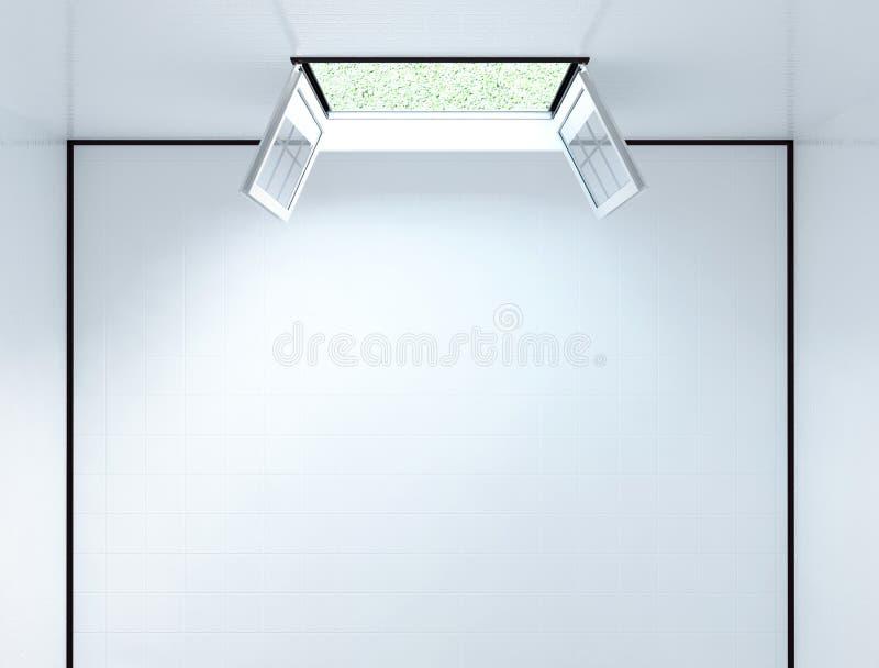 Open venster, hoogste 3d mening, vector illustratie