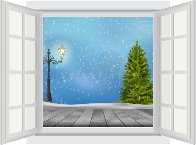 Open venster van Kerstboom en lamppost op de winterachtergrond stock illustratie