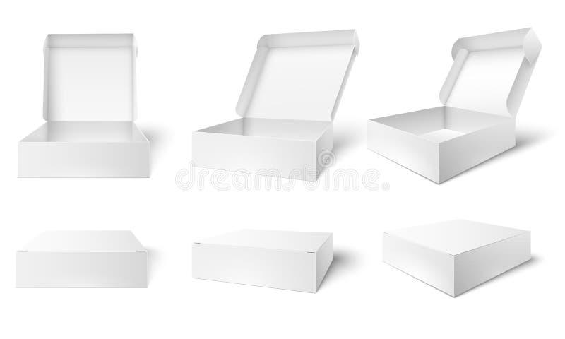 Open verpakkende doos Lege pakketdozen, geopende en gesloten witte 3d vector de illustratiereeks van het pakkettenmodel stock illustratie