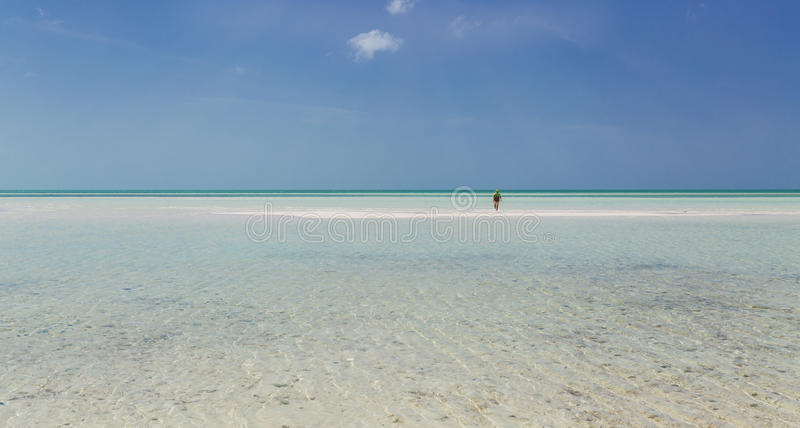 Open view of Cuban Cayo Coco island wild beach with turquoise, tranquil ocean and person going far toward horizon line. Gorgeous wide open view of Cuban Cayo stock image