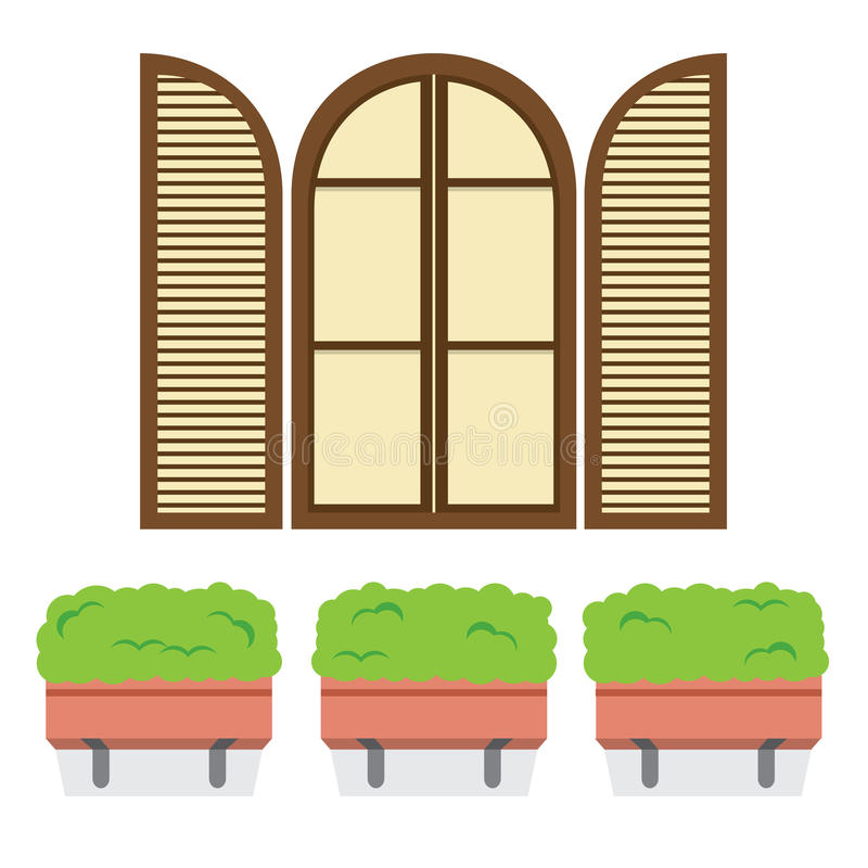 Open Vintage Arc Window With Pot Plants Below. Vector Illustration stock illustration
