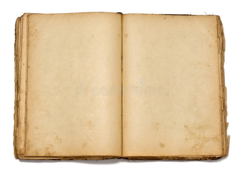 Open vintage book on white background stock image
