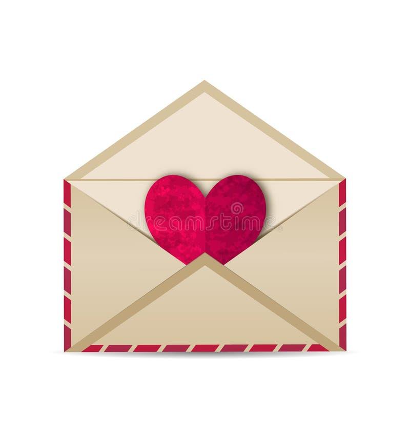 Open vintage envelope with paper grunge heart royalty free illustration