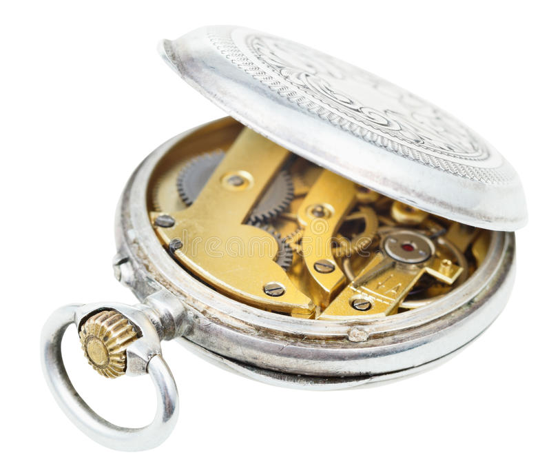 Open vintage silver pocket watch isolated on white. Background stock photo