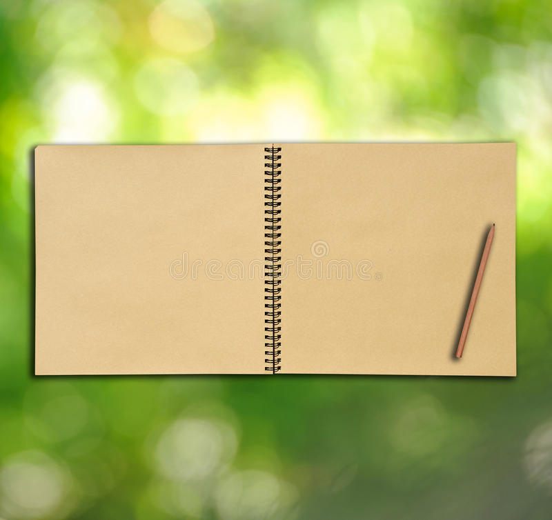 Open Vintage Sketch Book On Green Background Royalty Free Stock Images