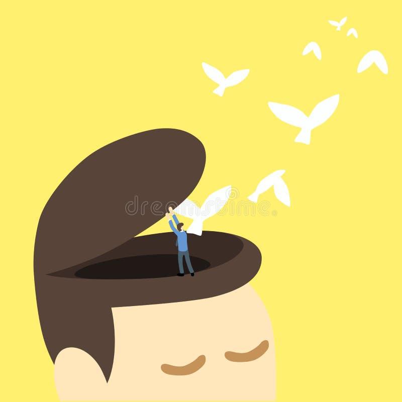 Open vrij hoofd uw menings vrije vogel vector illustratie