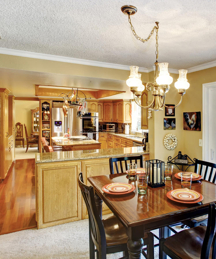 Open Wall Design Interior Kitchen And Dining Room Stock Photo