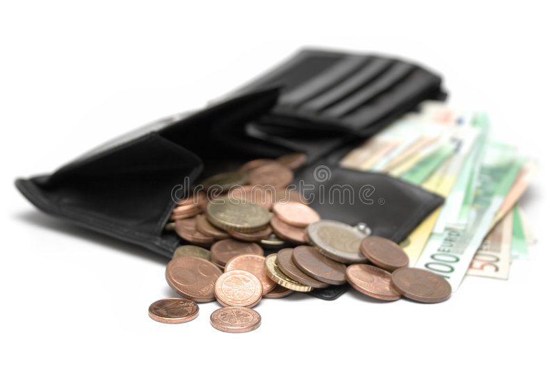 Open Wallet. Black leather purse full of coins and banknotes. Isolated on a white background. Shallow depth of field stock photography