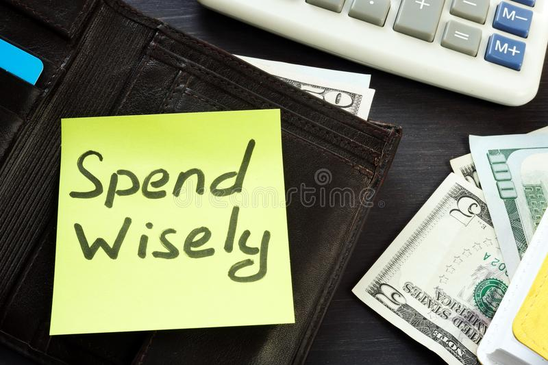 Open wallet with memo spend wisely. Money habits. Open wallet with memo spend wisely. Money habits concept royalty free stock images