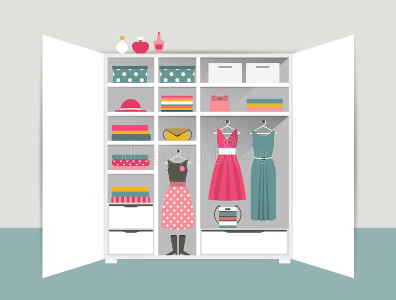 Open wardrobe. White closet with tidy clothes, shirts, sweaters, boxes and shoes. Home interior. royalty free illustration