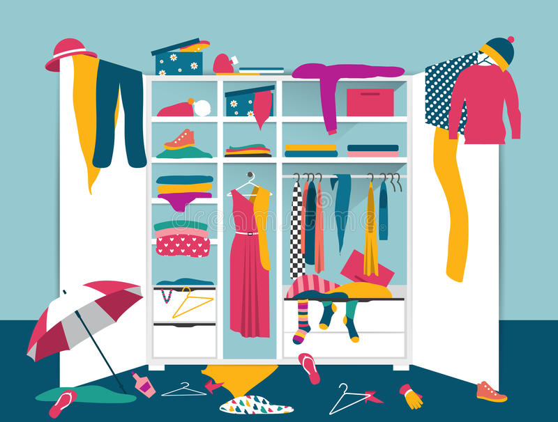 Download Open Wardrobe White Closet With Untidy Clothes Stock Vector