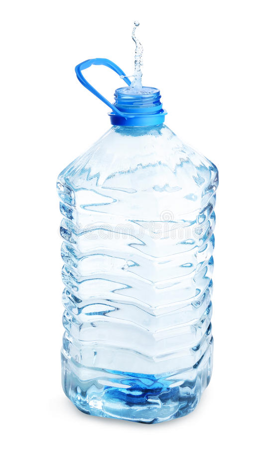 Open water bottle with splash isolated stock photography