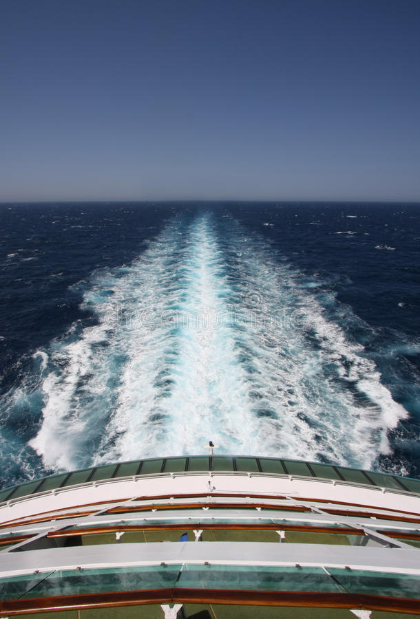 Open waters. Sailing, Rear deck of a cruise ship with view stock photos