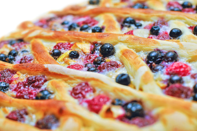Open Weaving Pie with berries royalty free stock image