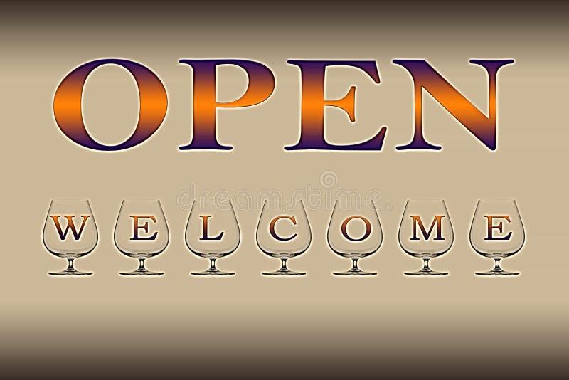 Open - welkome reclameillustratie stock foto's