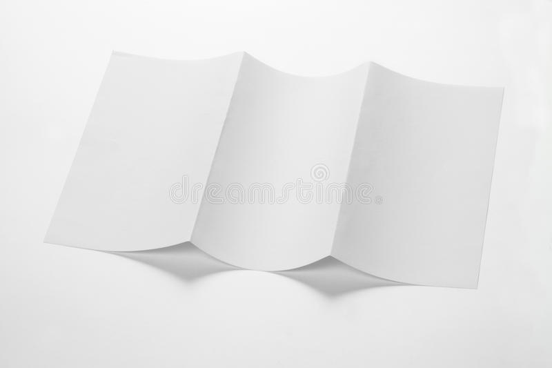 Open White Blank Folded Trifold DL Flyer for Mock up. Open White Blank Folded Trifold DL Flyer royalty free stock images