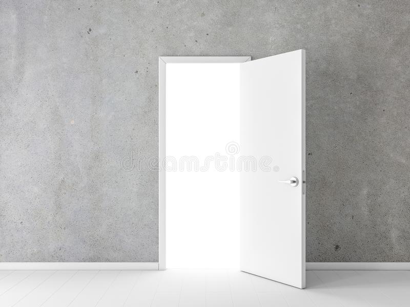 Open white door in empty room with concrete wall vector illustration