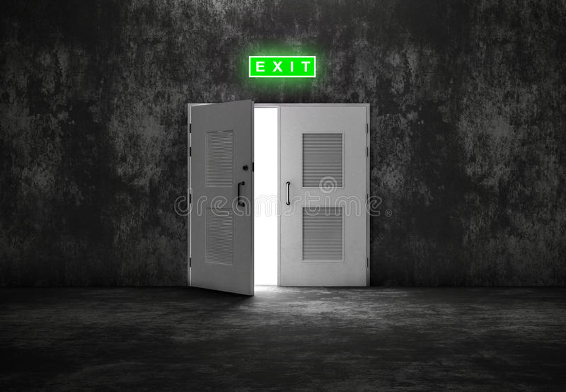 Open white door exit on grey background. Like cement or concrete wall. Concept of opportunity and way out royalty free stock photography
