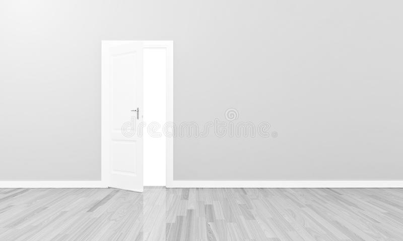 Open white door large blank wall royalty free stock photos
